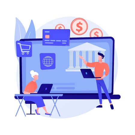 Pensioners financial literacy. Finance education, savings management, investment awareness. Consultant explaining finance system basics to elderly people. Vector isolated concept metaphor illustration