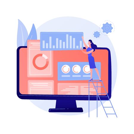 Digital marketing plan. SMM business, online analytical interface, display advertising. Analyst studying statistical data on brand rating. Vector isolated concept metaphor illustration Illusztráció