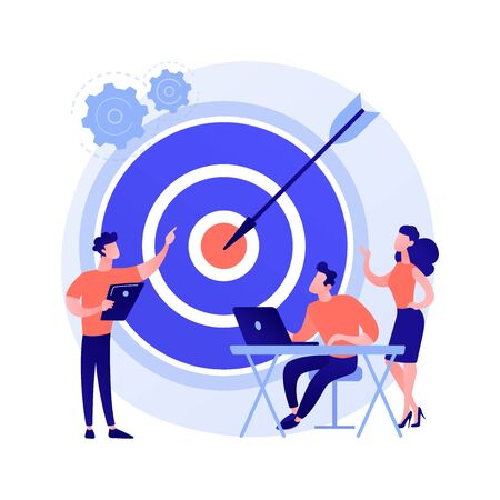 Staff management, perspective definition, target orientation. Teamwork organization. Business coach, company executive and personnel cartoon characters. Vector isolated concept metaphor illustration. Иллюстрация