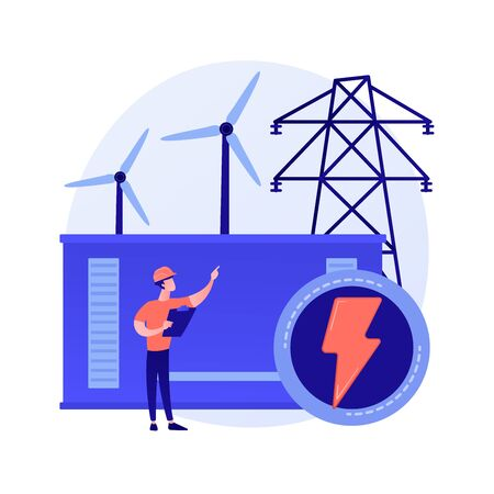 Power station, electrical energy generation, electricity production. Power engineer cartoon character. Energy industry, electric plant. Vector isolated concept metaphor illustration. Vector Illustratie