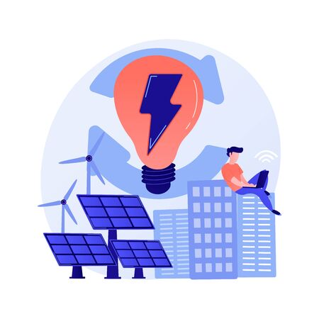 Electric charge, electricity generation, light production. Female PC user with electrical appliance cartoon character. Device charging. Vector isolated concept metaphor illustration.