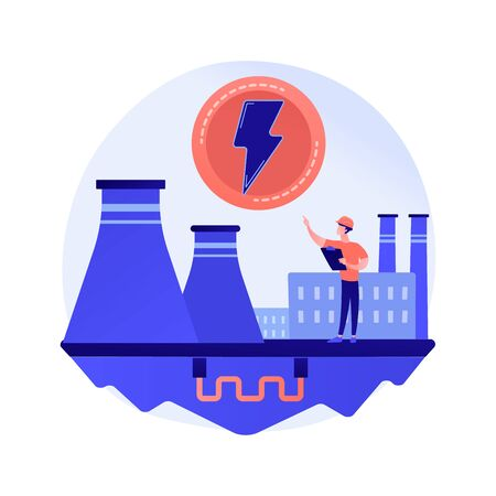 Power plant, electric industry, energy production vector concept metaphor.