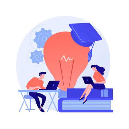 Interesting chemistry facts online searching. Self education, exam preparing, Internet surfing. Man and woman characters browsing scientific website. Vector isolated concept metaphor illustration.