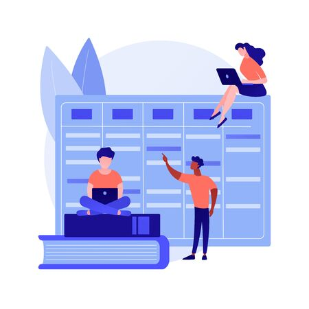 Colleagues working together. Workflow organization, effective task planning, deadline calendar. Effective teamwork, productivity management. Vector isolated concept metaphor illustration  イラスト・ベクター素材
