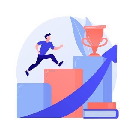 University graduation. Achievement, higher education, academic degree. Successful student jumping, holding mortarboard. Personal development. Vector isolated concept metaphor illustration. Ilustração