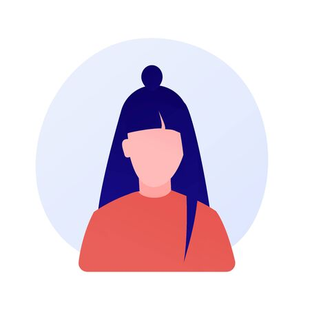 Young faceless woman portrait vector concept metaphor Illustration