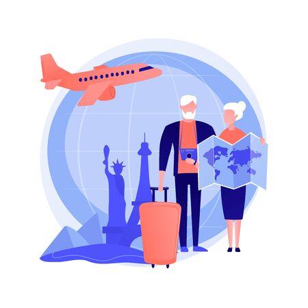 Senior couple travelling vector concept metaphor