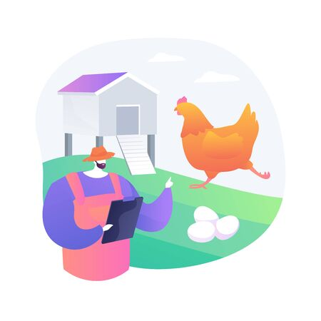 Free run chicken and eggs abstract concept vector illustration. Cage free eggs, organic food, rich nutrient diet, happy chickens, food labeling, organic certification standard abstract metaphor.