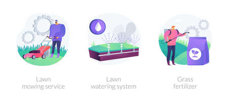 Gardening services abstract concept vector illustrations.