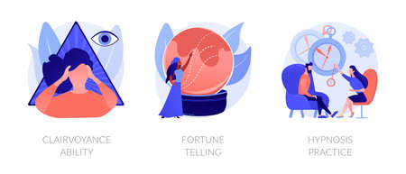 Alternative spiritual practices abstract concept vector illustrations.