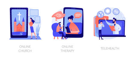 Distance help and support abstract concept vector illustrations.