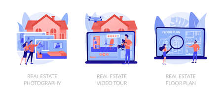Real estate listing services abstract concept vector illustrations.