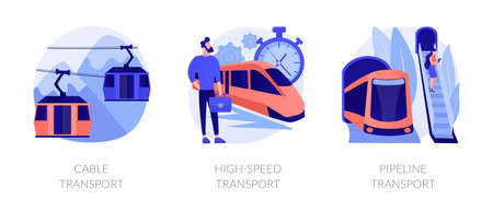 Long distance passenger vehicles vector concept metaphors. Stock Illustratie