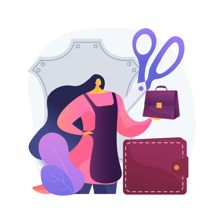 Leather handcraft abstract concept vector illustration. Handmade product, genuine leather apparel, designer bags and footwear, handcrafted goods, online shop, self-made items abstract metaphor.