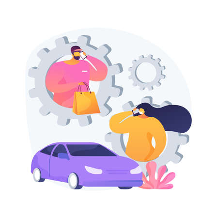 Call for load products abstract concept vector illustration. Store number, curbside pickup sign, order ID, parking place, get supplies amid quarantine, social distancing abstract metaphor. Illustration