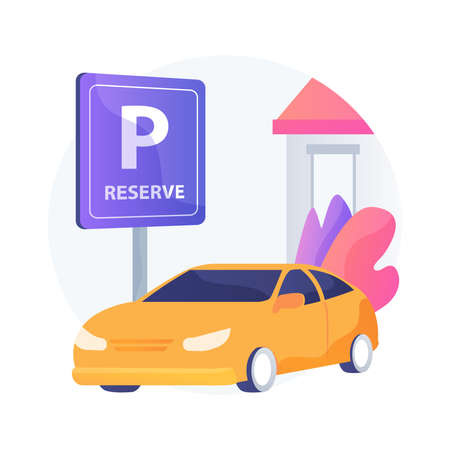 Reserve parking space for curbside pickup abstract concept vector illustration. Customer walk in, pickup station, customers arrival, keep employees safe, small business abstract metaphor.