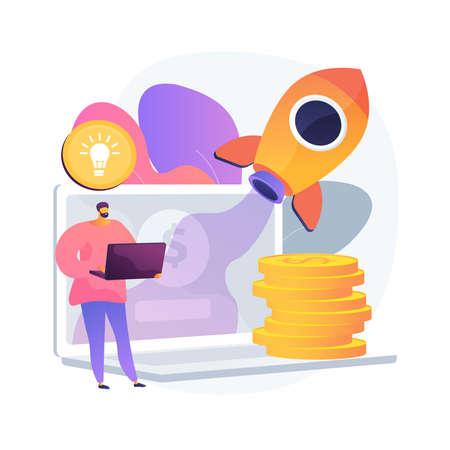 Online business abstract concept vector illustration. Business opportunity, online startup, ecommerce platform, internet marketing, social media sales, promotion, digital agency abstract metaphor. 일러스트