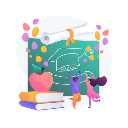 School celebration party abstract concept vector illustration. Stock Illustratie