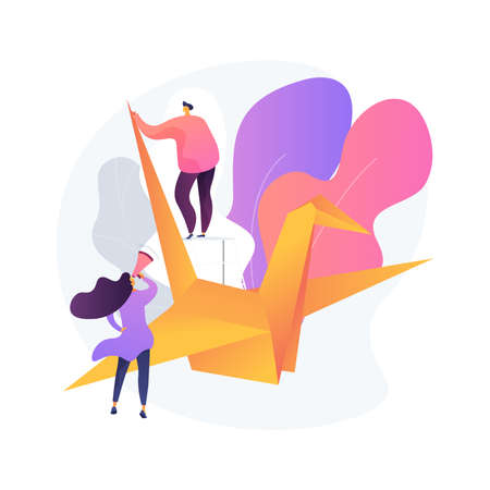 Origami abstract concept vector illustration.
