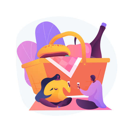 Indoor picnic abstract concept vector illustration.