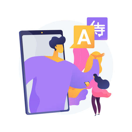Online language tutoring abstract concept vector illustration.