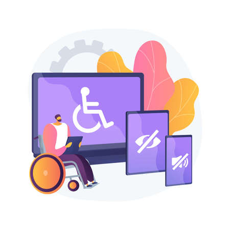 Electronic accessibility abstract concept vector illustration.