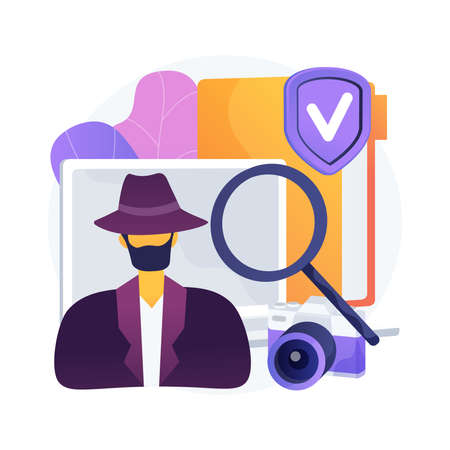 Private investigation abstract concept vector illustration. Çizim