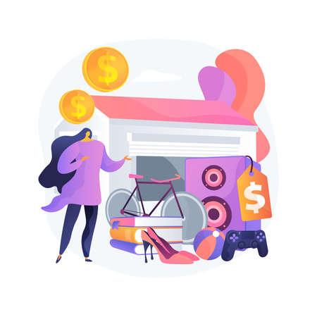 Garage sale abstract concept vector illustration. Illustration
