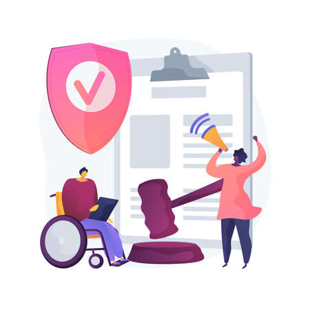Anti-discrimination law abstract concept vector illustration. Sexism at workplace, gender and racial discrimination, social equality, law violation, company policy, freedom abstract metaphor. 일러스트