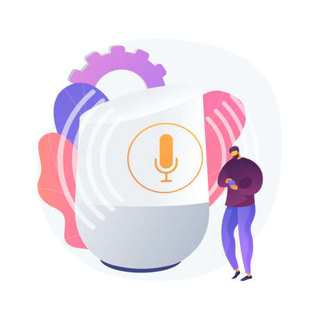 Microphone recording. Authenticate with voice. Receive call, play voip, send audio. Stable and unfluctuating noise. Transmitted contact. Vector isolated concept metaphor illustration. Vettoriali