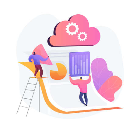 Crew of creator. Building new company. Utilize analitics. Gathering statistic. Start production, technology staff, operating startup. Industry growth. Vector isolated concept metaphor illustration.