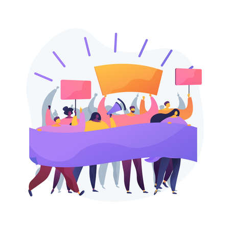 Mass protest abstract concept vector illustration.