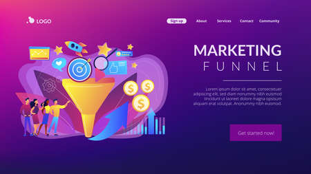 Analysts analyzing market. Selling strategy, lead generation. Marketing funnel, product marketing cycle, advertising system control concept. Website homepage landing web page template. Archivio Fotografico - 151074532