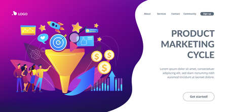 Analysts analyzing market. Selling strategy, lead generation. Marketing funnel, product marketing cycle, advertising system control concept. Website homepage landing web page template. Archivio Fotografico - 151074533