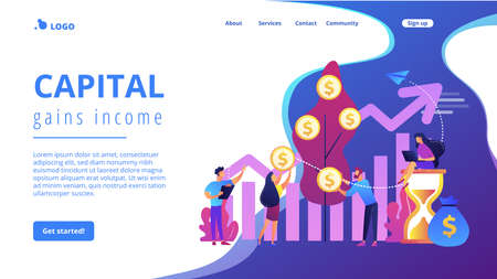 Money investing, financiers analyzing stock market profit. Portfolio income, capital gains income, royalties from investments concept. Website homepage landing web page template. Archivio Fotografico - 151074552