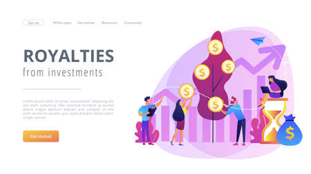 Money investing, financiers analyzing stock market profit. Portfolio income, capital gains income, royalties from investments concept. Website homepage landing web page template. Archivio Fotografico - 151074553