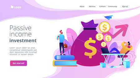 Stock market investing, online monetization. Remote job, freelance work. Passive income, rental activity income, passive income investment concept. Website homepage landing web page template. Archivio Fotografico - 151074571