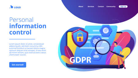 GDPR and cyber security, confidential database. General data protection regulation, personal information control, browser cookies permission concept. Website homepage landing web page template.