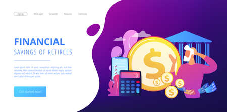 Earnings fund, budget calculating, social security. Retirement preparation, financial savings of retirees, pension saving planning concept. Website homepage landing web page template. Ilustração