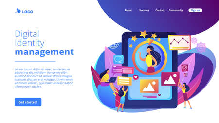 PR managers team working, personal development. Online identity management, digital Identity management, product web presence concept. Website homepage landing web page template.