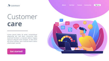 Clients assistance, call center, hotline operator, consultant manager. Customer care, seamless and personalized service, customer experience concept. Website homepage landing web page template. Stock Illustratie