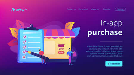 Man doing purchases from shopping list. Customer with package, buying goods. Purchase agreement, in-app purchase, buying process concept. Website homepage landing web page template.