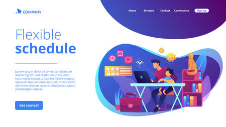 Freelancer with child working on laptop. Parent working with son. Home office. Remote worker, employee schedule, flexible schedule concept. Website homepage landing web page template.
