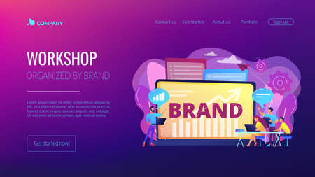 Marketing and promotional campaign. Brand awareness building. Branded workshop. workshop organized by brand, useful marketing event concept. Website homepage landing web page template.