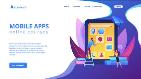 E- learning. Education process. Training application. Mobile app development courses, mobile apps online courses, become a mobile developer concept. Website homepage landing web page template. Stock Illustratie