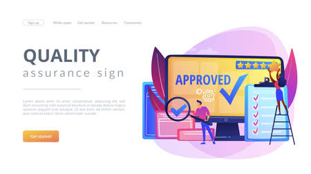 Approval mark. Product advantage. Rating and reviews. Meeting requirements. High quality sign, quality control sign, quality assurance sign concept. Website homepage landing web page template. Archivio Fotografico - 151074697