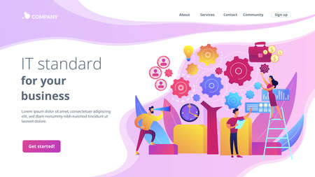 Business operation planning. Software technology integration. Enterprise architecture, IT standard for your business, business it management concept. Website homepage landing web page template.