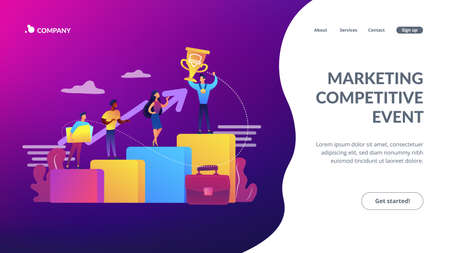 Best worker, specialist. Event sponsorship. Employee victory. Branded competition, marketing competitive event, contests organized by brand concept. Website homepage landing web page template.