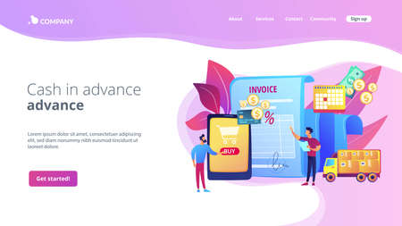 Online shopping application, delivery service, transportation business. Prepayment terms, payment in advance, cash in advance conditions concept. Website homepage landing web page template.