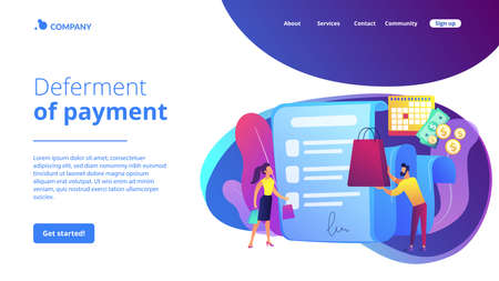 Installment purchase offer, shopping business, convenient customer service. Deferment of payment, net payment terms, buy now pay later concept. Website homepage landing web page template. 矢量图像